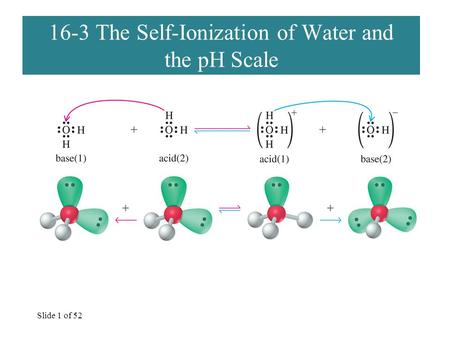 Slide 1 of 52 16-3 The Self-Ionization of Water and the pH Scale.