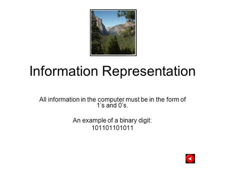 Information Representation All information in the computer must be in the form of 1's and 0's. An example of a binary digit: 101101101011.