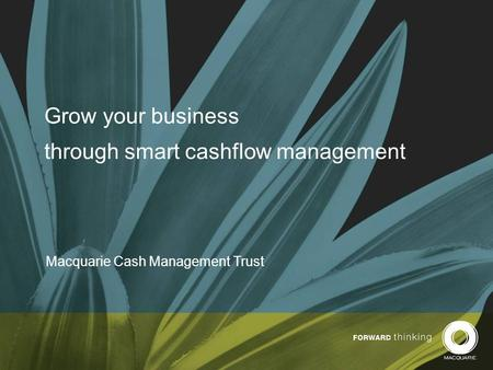 Grow your business through smart cashflow management Macquarie Cash Management Trust.