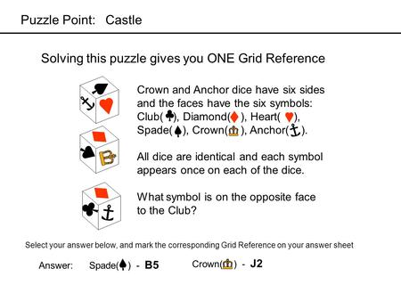 Solving this puzzle gives you ONE Grid Reference