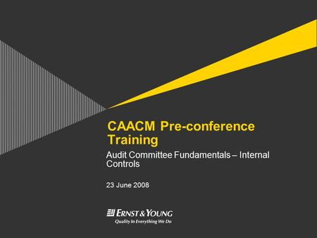 CAACM Pre-conference Training Audit Committee Fundamentals – Internal Controls 23 June 2008.