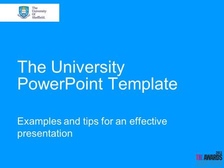 The University PowerPoint Template Examples and tips for an effective presentation.