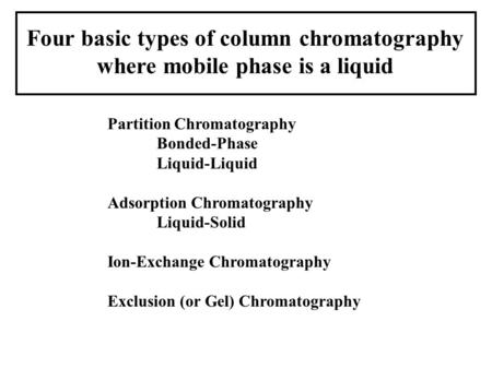 Four basic types of column chromatography where mobile phase is a liquid Partition Chromatography Bonded-Phase Liquid-Liquid Adsorption Chromatography.