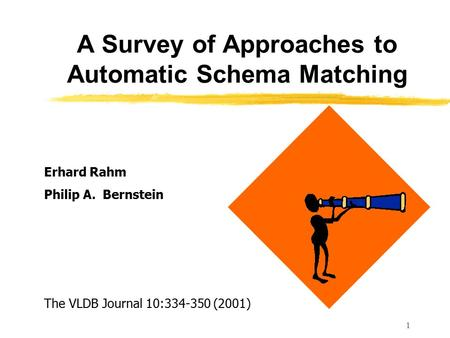 1 A Survey of Approaches to Automatic Schema Matching Erhard Rahm Philip A. Bernstein The VLDB Journal 10:334-350 (2001)