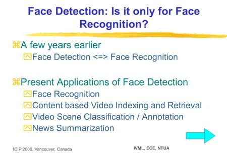 ICIP 2000, Vancouver, Canada IVML, ECE, NTUA Face Detection: Is it only for Face Recognition?  A few years earlier  Face Detection Face Recognition 