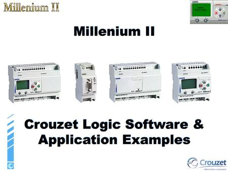 The different controllers The Functions Input functions Function blocks Dedicated function blocks Logic functions Output functions Applications Examples.