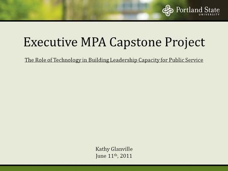 The Role of Technology in Building Leadership Capacity for Public Service Kathy Glanville June 11 th, 2011 Executive MPA Capstone Project.