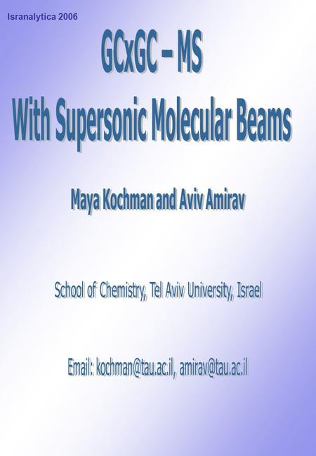 With Supersonic Molecular Beams Maya Kochman and Aviv Amirav