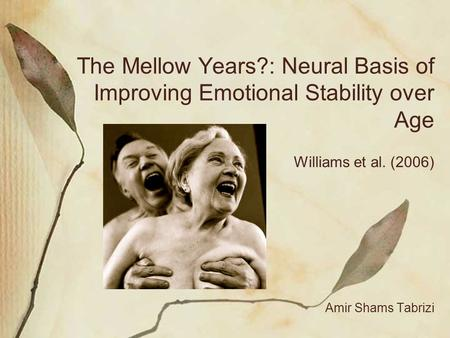 The Mellow Years?: Neural Basis of Improving Emotional Stability over Age Williams et al. (2006) Amir Shams Tabrizi.