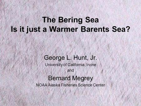 The Bering Sea Is it just a Warmer Barents Sea? George L. Hunt, Jr. University of California, Irvine and Bernard Megrey NOAA Alaska Fisheries Science Center.