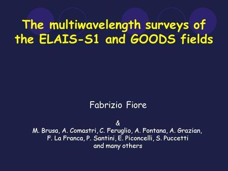 The multiwavelength surveys of the ELAIS-S1 and GOODS fields Fabrizio Fiore & M. Brusa, A. Comastri, C. Feruglio, A. Fontana, A. Grazian, F. La Franca,