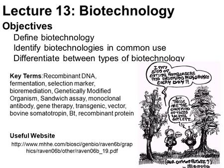 Lecture 13: <strong>Biotechnology</strong>