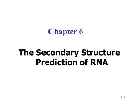 6 -1 Chapter 6 The Secondary Structure Prediction of RNA.