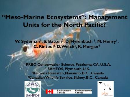 """Meso-Marine Ecosystems"": Management Units for the North Pacific? W. Sydeman 1, S. Batten 2, D. Hyrenbach 1, M. Henry 1, C. Rintoul 1, D. Welch 3, K. Morgan."