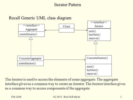 Feb 200692.3913 Ron McFadyen1 Iterator Pattern Recall Generic UML class diagram The iterator is used to access the elements of some aggregate. The aggregate.
