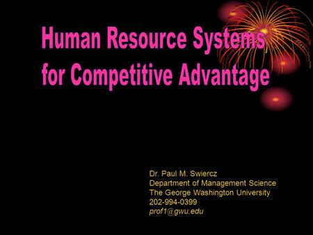 Human Resource Systems for Competitive Advantage