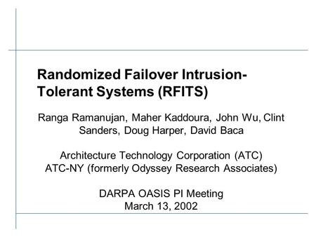 Randomized Failover Intrusion- Tolerant Systems (RFITS) Ranga Ramanujan, Maher Kaddoura, John Wu, Clint Sanders, Doug Harper, David Baca Architecture Technology.