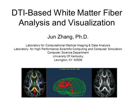 DTI-Based White Matter Fiber Analysis and Visualization Jun Zhang, Ph.D. Laboratory for Computational Medical Imaging & Data Analysis Laboratory for High.