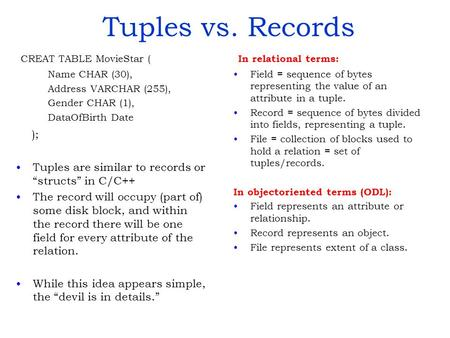 Tuples vs. Records CREAT TABLE MovieStar ( Name CHAR (30), Address VARCHAR (255), Gender CHAR (1), DataOfBirth Date ); Tuples are similar to records or.