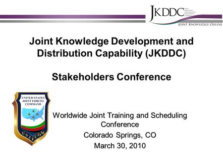 Worldwide Joint Training and Scheduling Conference