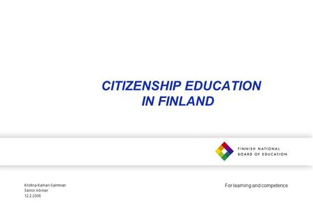 CITIZENSHIP EDUCATION IN FINLAND