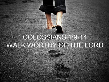 COLOSSIANS 1:9-14 WALK WORTHY OF THE LORD. 4 PRINCIPLES FOR ALL BELIEVERS PRAY KNOW THE TRUTH LIVE WHAT YOU KNOW BY GOD'S POWER THANK GOD FOR WHAT HE.