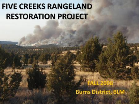 FIVE CREEKS RANGELAND RESTORATION PROJECT FALL 2008 Burns District, BLM.