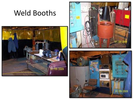 Weld Booths. System Needs and Proposed Solution Weld Booths Primary Needs: 1.Standardize weld booth Better use of space by eliminating unnecessary equipment/materials.