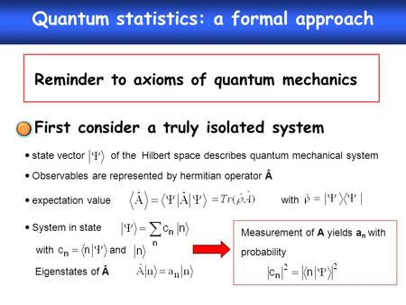 Quantum statistics: a formal approach Reminder to axioms of quantum mechanics  state vector of the Hilbert space describes quantum mechanical system 