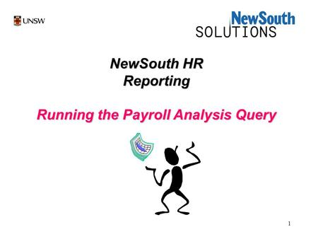 1 NewSouth HR Reporting Running the Payroll Analysis Query.