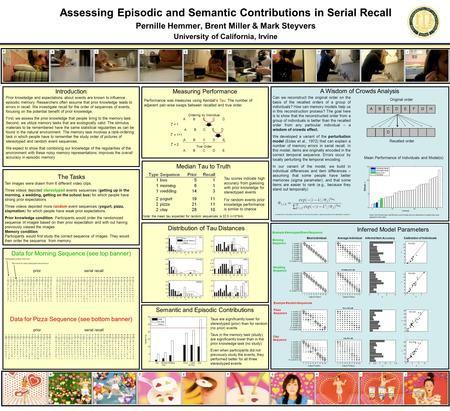Distribution of Tau Distances Assessing Episodic and Semantic Contributions in Serial Recall Pernille Hemmer, Brent Miller & Mark Steyvers University of.