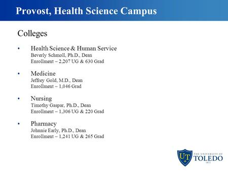Provost, Health Science Campus Colleges Health Science & Human Service Beverly Schmoll, Ph.D., Dean Enrollment – 2,207 UG & 630 Grad Medicine Jeffrey Gold,