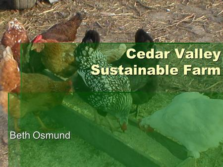 Cedar Valley Sustainable Farm Beth Osmund. Operating an Innovative & Adaptable Small Scale Farm A Producer's Story.