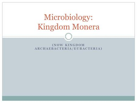 (NOW KINGDOM ARCHAEBACTERIA/EUBACTERIA) Microbiology: Kingdom Monera.