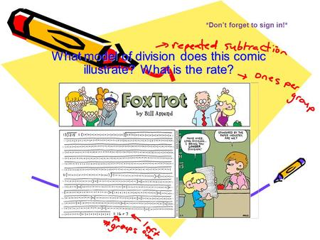 *Don't forget to sign in!* What model of division does this comic illustrate? What is the rate?