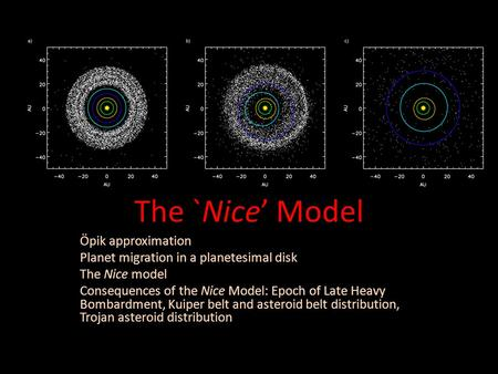 The `Nice' Model Öpik approximation Planet migration in a planetesimal disk The Nice model Consequences of the Nice Model: Epoch of Late Heavy Bombardment,