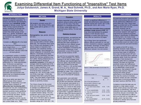 Examining Differential Item Functioning of Insensitive Test Items Examining Differential Item Functioning of Insensitive Test Items Juliya Golubovich,