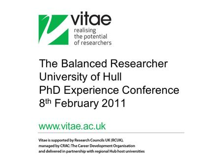 The Balanced Researcher University of Hull PhD Experience Conference 8 th February 2011.