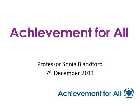 Professor Sonia Blandford 7th December 2011