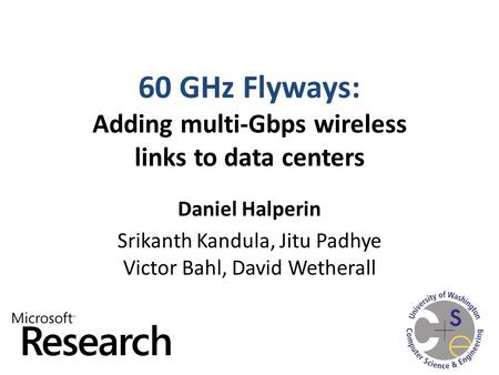 60 GHz Flyways: Adding multi-Gbps wireless links to data centers