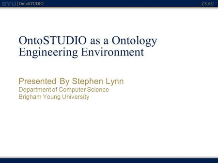 OntoSTUDIO as a Ontology Engineering Environment