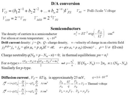 D/A conversion Semiconductors