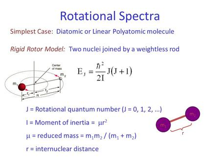 Rotational Spectra Simplest Case: Diatomic or Linear Polyatomic molecule Rigid Rotor Model: Two nuclei joined by a weightless rod J = Rotational quantum.