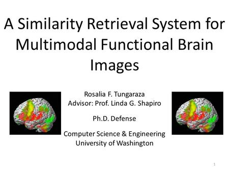 A Similarity Retrieval System for Multimodal Functional Brain Images Rosalia F. Tungaraza Advisor: Prof. Linda G. Shapiro Ph.D. Defense Computer Science.