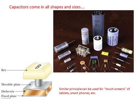 "Capacitors come in all shapes and sizes…. Similar principle can be used for ""touch screens"" of tablets, smart phones, etc."