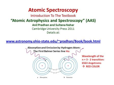 "Atomic Spectroscopy Introduction To The Textbook ""Atomic Astrophysics and Spectroscopy"" (AAS) Anil Pradhan and Sultana Nahar Cambridge University Press."