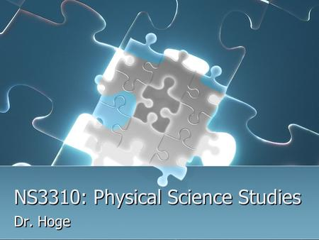 NS3310: Physical Science Studies