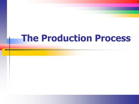 The Production Process. Slide 2 Introduction Production is both a SCM function and an accounting function Simply put, the process involves turning raw.