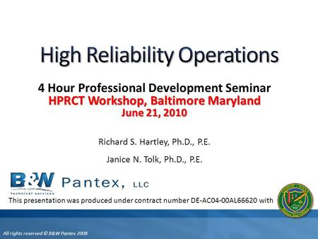High Reliability Operations