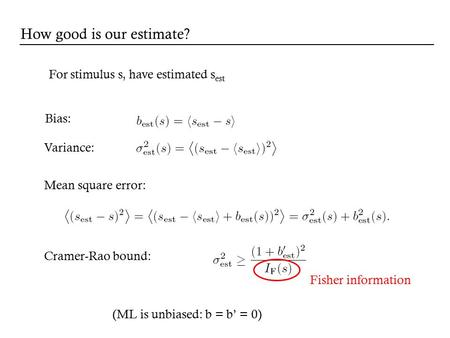 For stimulus s, have estimated s est Bias: Cramer-Rao bound: Mean square error: Variance: Fisher information How good is our estimate? (ML is unbiased: